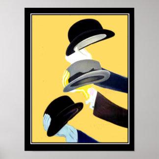 Gorras franceses del poster 3 del vintage del art  póster