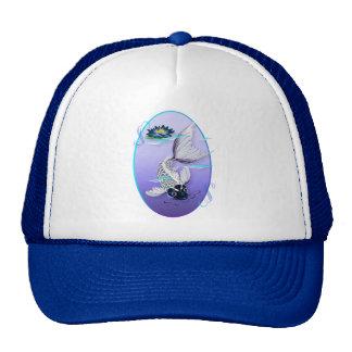 Gorras Koi-Azules blancos del lirio