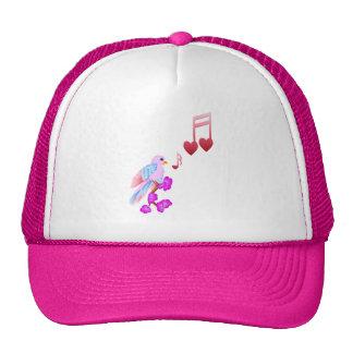Gorras rosados de las notas del pájaro y del amor
