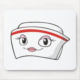 Gorras sonrientes de la enfermera del dibujo anima alfombrilla de raton
