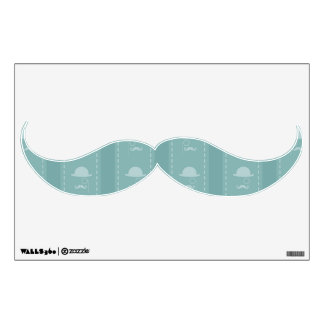 Gorras y bigotes azules vinilo decorativo