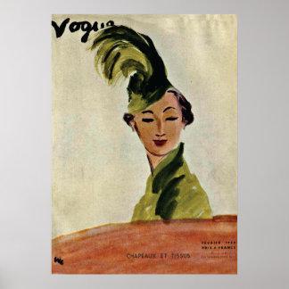 Gorras y telas 1935 del ~ de la cubierta de París Póster