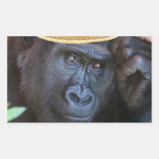 gorrilla in a straw hat rectangular sticker