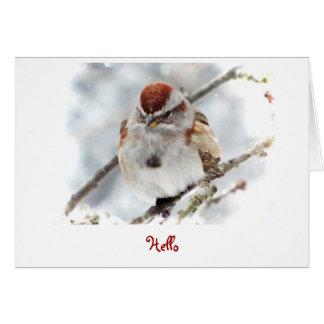 Gorrión de árbol que piensa en usted tarjeta de felicitación
