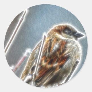 Gorrión de Fractalius Pegatina Redonda