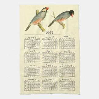 Gorrión de Java, calendario 2013 Toalla De Cocina