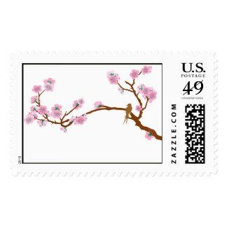 Gorrión en el árbol - franqueo sello postal