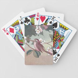Gorrión en el florecimiento del manzano cartas de juego
