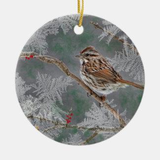 Gorrión en las ramitas ornamant adorno navideño redondo de cerámica