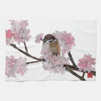Gorrión, flores de cerezo toalla de cocina