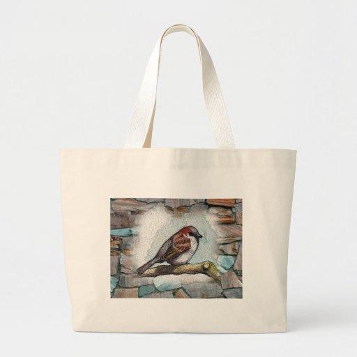Gorrión: Pájaro, acuarela, piedras, rocas Bolsas De Mano