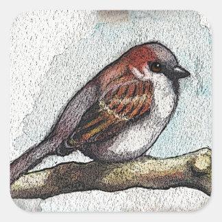 Gorrión: Pájaro, acuarela, piedras, rocas Pegatina Cuadrada