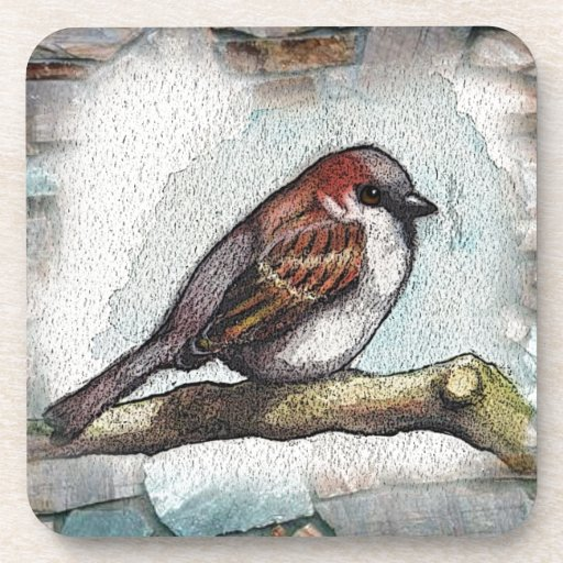 Gorrión: Pájaro, acuarela, piedras, rocas Posavasos De Bebidas