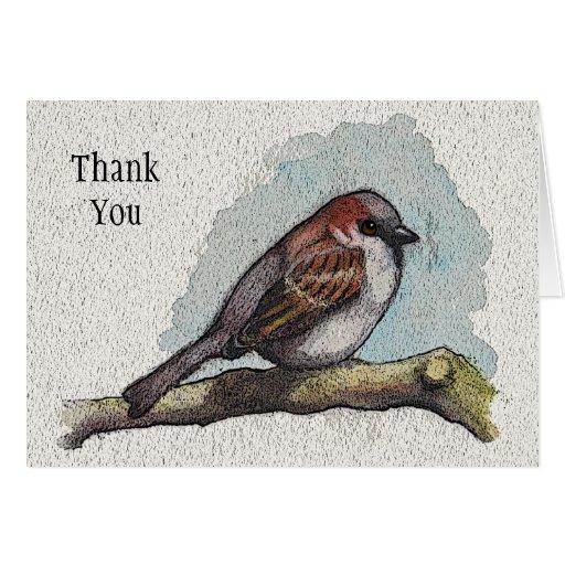 Gorrión; Pájaro: Arte de la fauna: Gracias Tarjeta De Felicitación