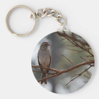 Gorrión que salta en el árbol de Myrtle de crespón Llavero Redondo Tipo Pin