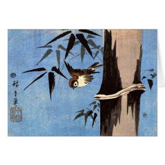 Gorrión y bambú Ando Hiroshige Felicitaciones