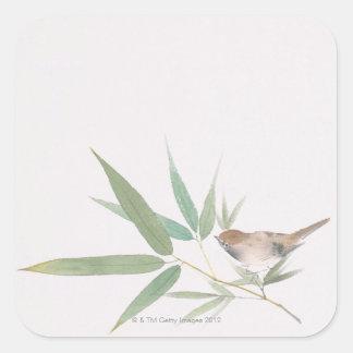 Gorrión y bambú pegatinas cuadradas