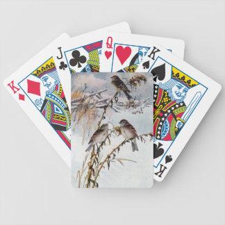 Gorriones de árbol en invierno baraja cartas de poker