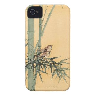 Gorriones en el árbol de bambú de Ohara Koson iPhone 4 Case-Mate Cárcasas