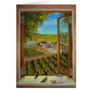 Gorriones en el windowsill tarjeta de felicitación