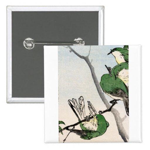 Gorriones japoneses verdes no.2 pin