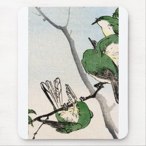 Gorriones japoneses verdes no.2 alfombrillas de raton