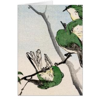 Gorriones japoneses verdes no.2 tarjeta de felicitación