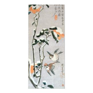 """Gorriones y camelia en nieve de Ando Hiroshige Invitación 4"""" X 9.25"""""""