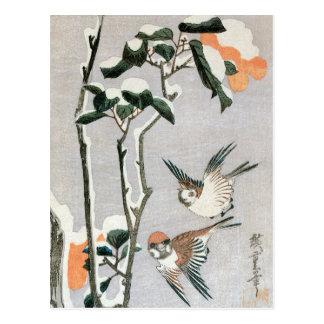 Gorriones y camelia en nieve de Ando Hiroshige Tarjetas Postales