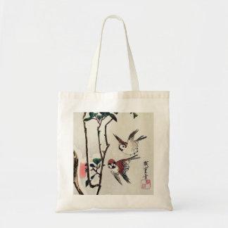 Gorriones y camelias de Hiroshige en la nieve Bolsa Tela Barata