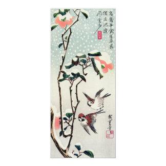 """Gorriones y camelias de Hiroshige en la nieve Invitación 4"""" X 9.25"""""""