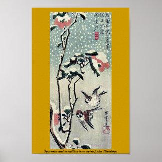 Gorriones y camelias en nieve por Ando, Hiroshige Poster