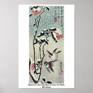 Gorriones y camelias en nieve por Ando, Hiroshige Posters