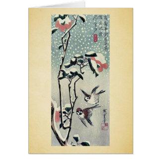 Gorriones y camelias en nieve por Ando, Hiroshige Tarjeta