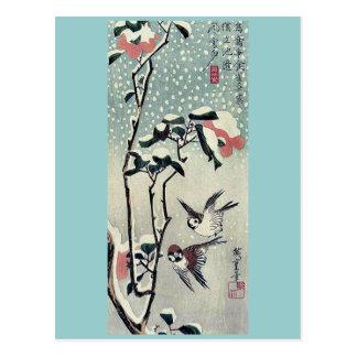 Gorriones y camelias en nieve por Ando, Hiroshige Postal