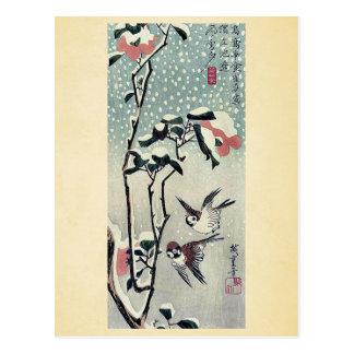 Gorriones y camelias en nieve por Ando, Hiroshige Postales