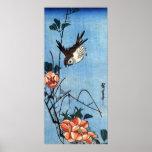 Gorriones y color de rosa salvaje, Hiroshige Impresiones
