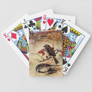 gorriones y hojas de otoño Blanco-throated Baraja Cartas De Poker