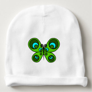 Gorrita tejida esmeralda del bebé de la mariposa gorrito para bebe