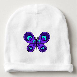 Gorrita tejida púrpura del bebé de la mariposa gorrito para bebe
