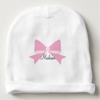 Gorrita tejida rosada del bebé del monograma del gorrito para bebe
