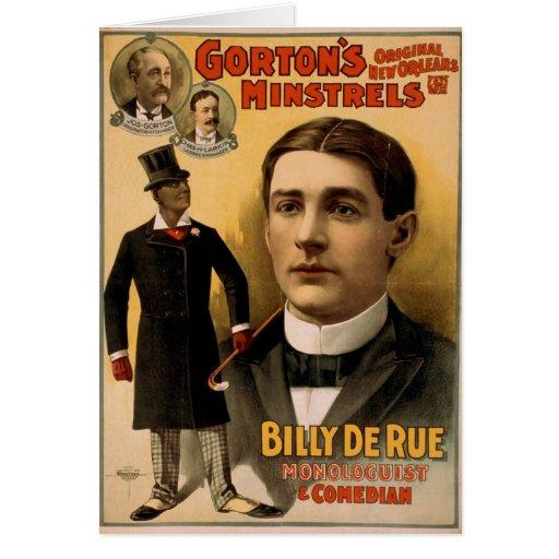 Gorton's Minstrels, 'Billy de Rue' Vintage Theater Greeting Card