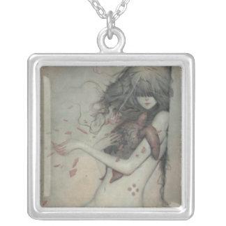Gory Beauty Square Pendant Necklace