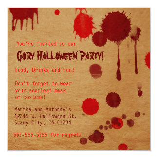 Gory Halloween Party Bash Invitation