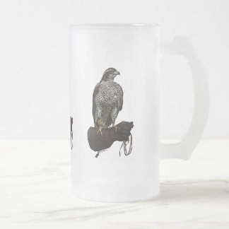 Goshawk on Glove Frosted Glass Beer Mug