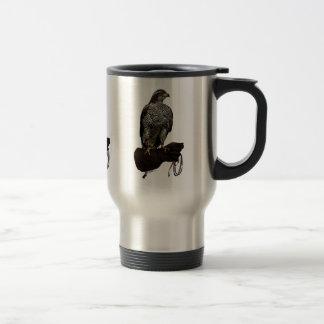 Goshawk on Glove Travel Mug