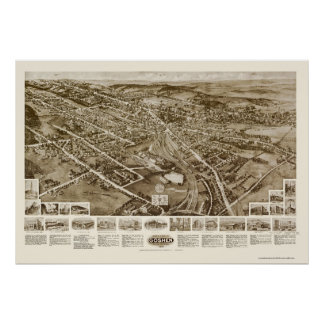 Goshen, mapa panorámico de NY - 1922 Póster
