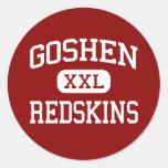 Goshen - pieles rojas - High School secundaria - Pegatina Redonda