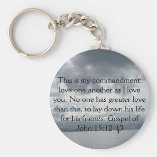 Gospel of John 15:12-13 Key Chain