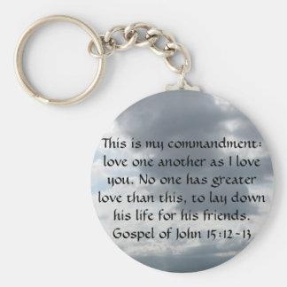 Gospel of John 15:12-13 Basic Round Button Keychain
